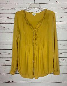 Sundance-Catalog-Women-039-s-Sz-S-Small-Mustard-Yellow-Button-Fall-Top-Blouse-Shirt