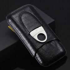 COHIBA Black Leatherette Croco Embossed 3 Tube Cigar Holder Case Cutter Set