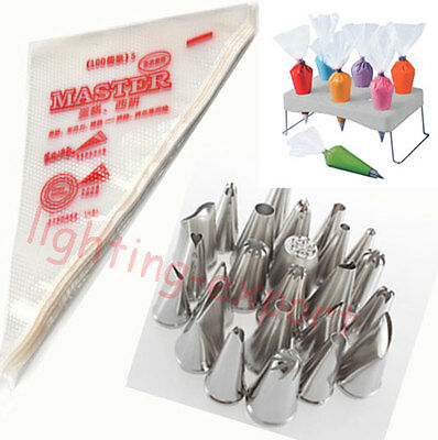 24pcs Icing Piping Nozzles 100pcs Disposable Bag Cake Decorating Tool Pastry Tip
