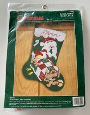 "Bucilla Hello Santa ~ 18/"" Felt Christmas Stocking Kit #86861 Free Bonus Ornament"