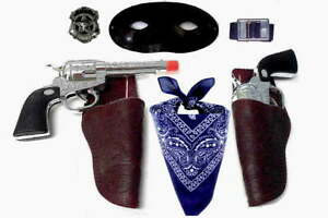 Kids-Masked-Lone-Lawman-Double-Holster-Set-w-Toy-Clicker-Guns-Bandana-blk