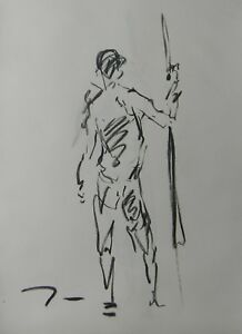 JOSE TRUJILLO - MODERN Contemporary ORIGINAL CHARCOAL DRAWING Standing ART MODEL