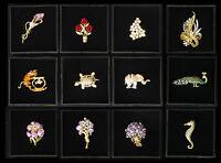39 Broschen Geschenkrahmen Tolle Designs Elefant Katze Rose Orchidee Blume Etc