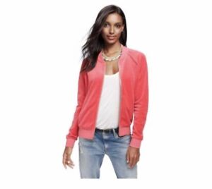 Juicy-Couture-Velour-Bomber-Geranio-Rosa-Corallo-NUOVO