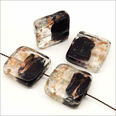 Lot de 4 perles en verre lampwork noir or 20mm