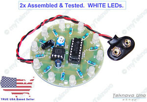 2x Assembled Round White Diffused Led Chaser Scroller Diy Kits 5 12v Usa Ebay