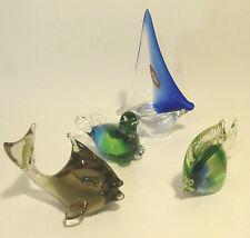 4  Glastiere Glasfigur  @ Fische Robbe Boot Schiff @ Murano u.a. @