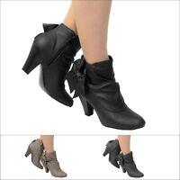 Blockabsatz High Heels Damen Stiefel Stiefeletten S83 Boots Slipper Leder-optik