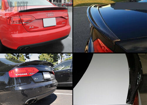 FOR 2013-2016 AUDI A4 CAT STYLE CARBON FIBER REAR HIGH KICK TRUNK SPOILER WING