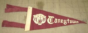 "1950/60s? TANEYTOWN HIGH SCHOOL 9"" 4-Tassel Maroon PENNANT - Taneytown, Maryland"