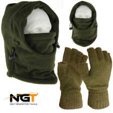 Mens Green Thinsulate Thermal Fleece Gloves Large NGT Carp Fishing Camo Snood