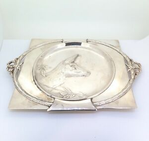 Art-Nouveau-German-Silver-Plate-Deer-Theme-amp-Garland-Wall-Plaque-Stamped-331