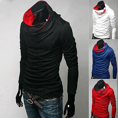 New Men Winter Warm Styilsh Cowl Neck Hoodie T-shirt Shirt Tops Tee Long Sleeve
