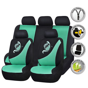Universal-Car-Seat-Covers-Protectors-Butterfly-Embroidery-Washable-Mint-Green