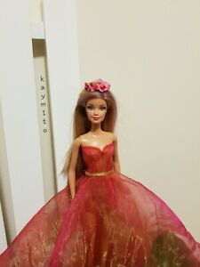 New-lovely-red-organza-silk-princess-dress-for-your-Barbie-dolls-AU-Made