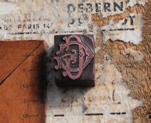GG Monogramm Initial Druckstock Klischee Galvano Initiale Vintage Jugendstil rar