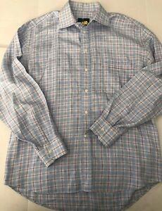 Canali-Shirt-Men-039-s-Size-43-Italy-17-US-Dress-Shirt-Blue-Plaid-Career-Cotton-EUC
