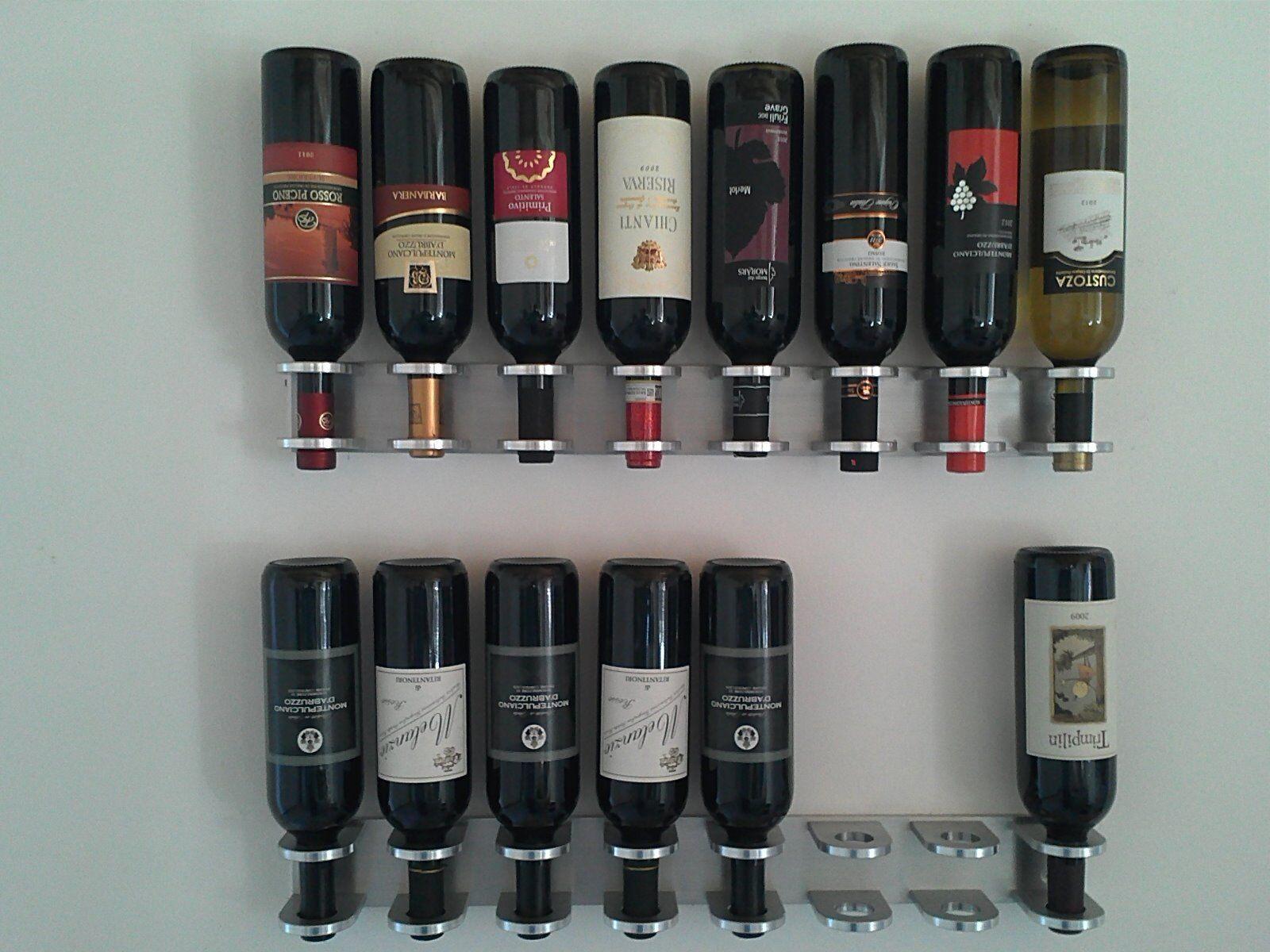 Porta vini 8 bottiglie a parete in alluminio masello semi-lucido,satinato