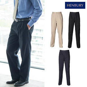 Consciencieux Henbury Revêtement En Téflon Double Plissé Pantalon Chino H600-formal Office Wear Pant-afficher Le Titre D'origine