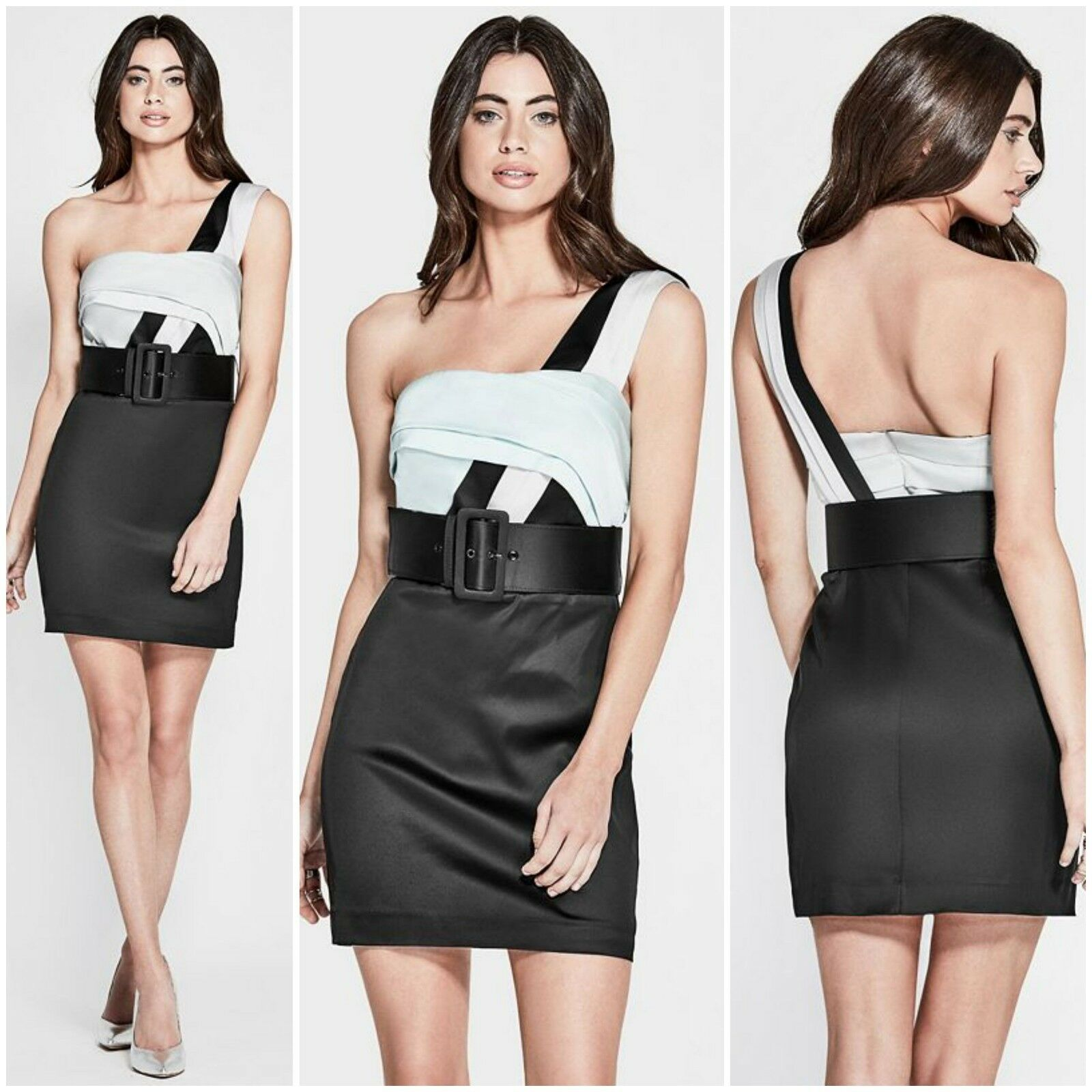 NWT Guess By Marciano RAQUEL ONE-SHOULDER with belt DRESS SIZE 2