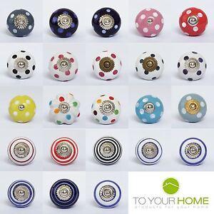 Dots-amp-Stripes-Ceramic-Door-Knobs-Handles-Furniture-Drawer-Pulls-Cupboard