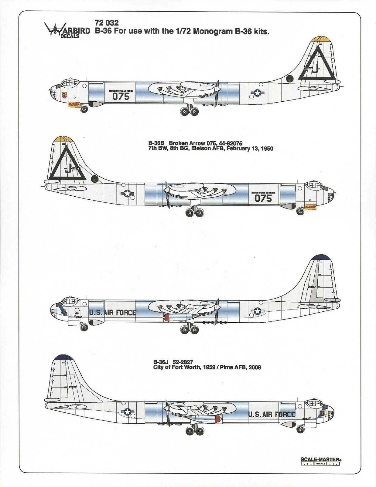 Warbird B-36 Peacemaker (Hacedor de Paz ) , Broken ARROW Barco 075 Set Adhesivos