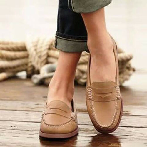 Women/'s Casual Brogues Flats Heels Slip On Pumps Oxford Comfy Loafers Shoes Size