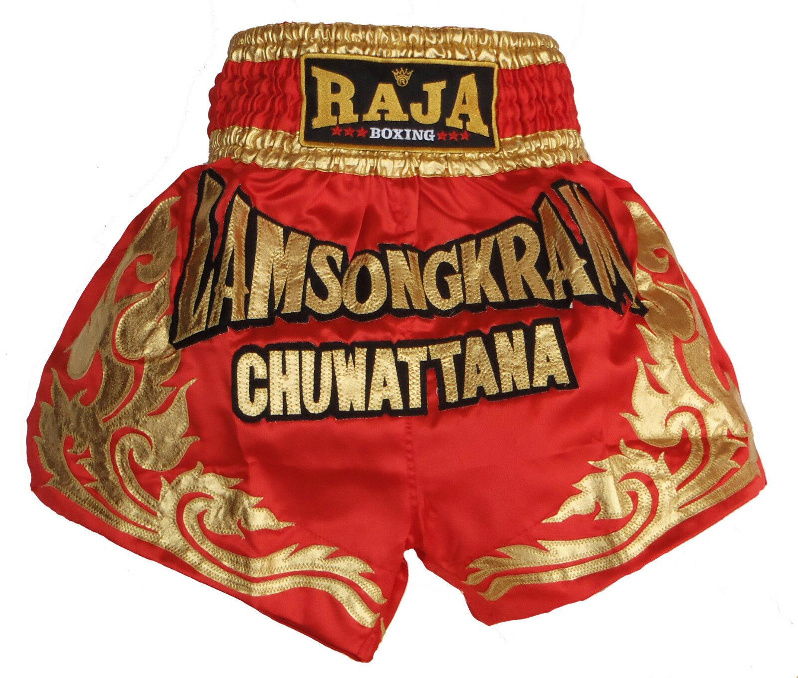 Shorts Boxen Thai Muay Muay Muay Thai RAJA Boxen satin rot Lamsongkram  | Sale  | Viele Sorten  215e3f