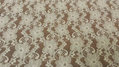 F139 New Cream Floral  Lace Fabric Material 59""