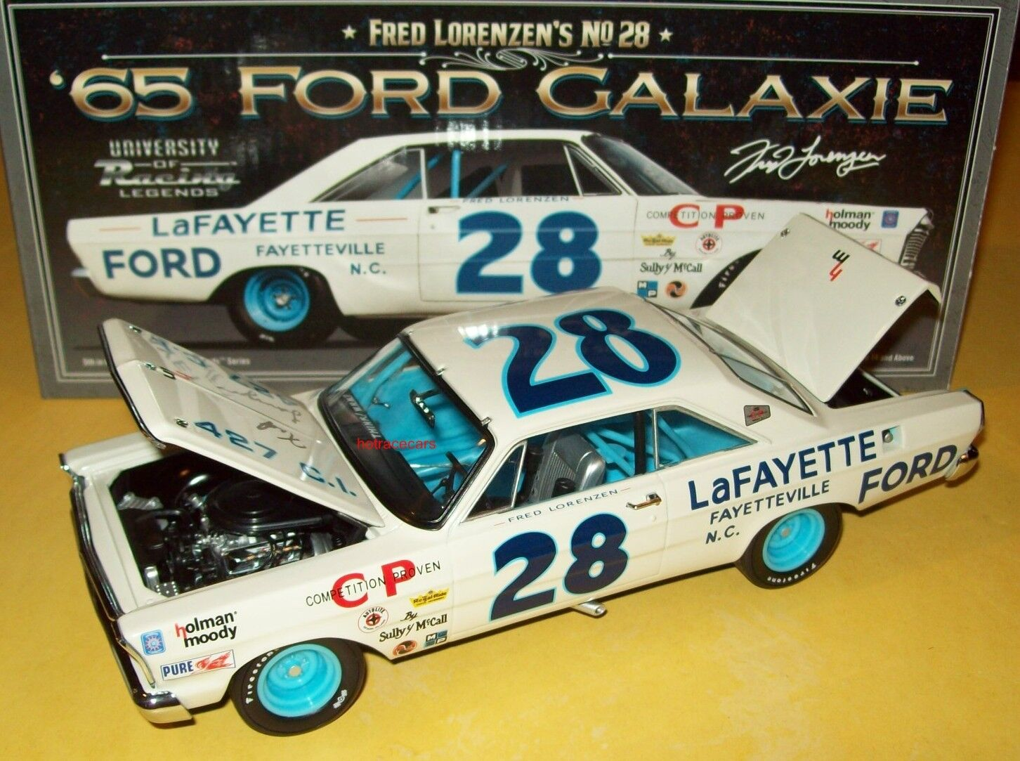 Frot Lorenzen 1965 Lafayette Ford  28 Galaxie Signed Autograph 1 24 Legends New