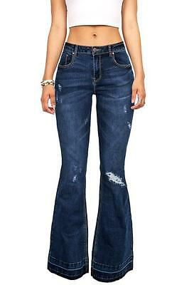 Big Flare Don't Care Distressed Bell Bottom Jeans Stretchy Jegging Feel Denim