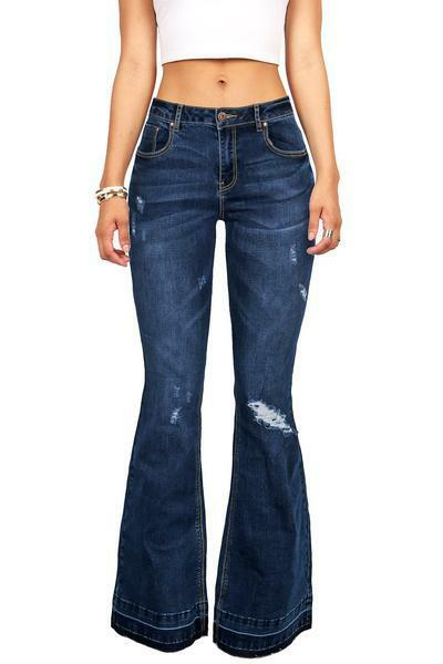 Big Flare Don't Care Distressed Bell Bottom Flare Jeans Stretchy Jegging Feel