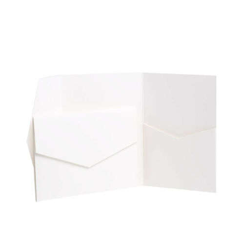 WHITE MATTE Pocketfold  invites /& envelopes Pocket WEDDING invitationS