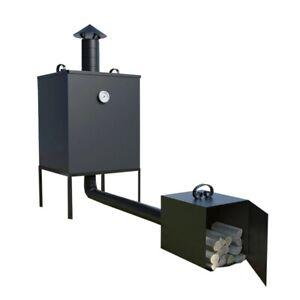 Raucherofen-mit-Kamin-aus-Stahl-Raucherofen-Metall-Stahl-Feuerkammer-Smoker