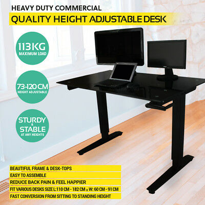 uk availability 9c5de 26006 Height Adjustable Standing Desk Sit Stand Desk 10 Yr Warranty - BLACK GLASS  TOP | eBay