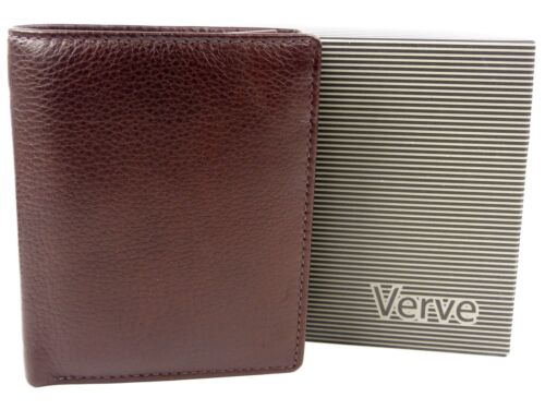 Brown Mens Quality Leather Compact Tri-Fold Wallet by Mala; Verve Gift Boxed
