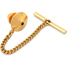 Gold Plated Pin Back With Tie Tack Clutch Chain