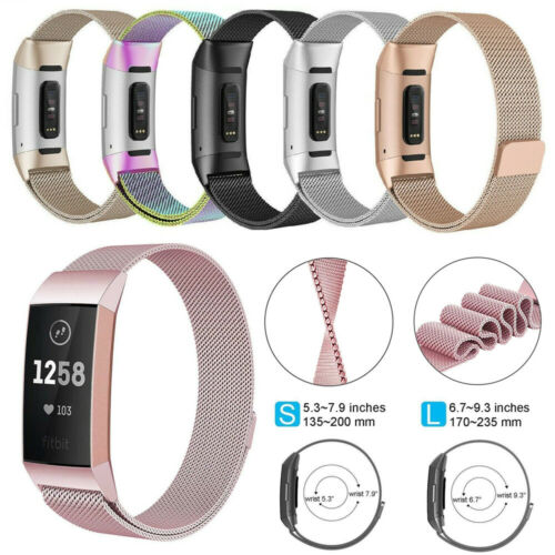 UK For Fitbit Charge 3 Strap Replacement Milanese Band Stainless Steel Magnet
