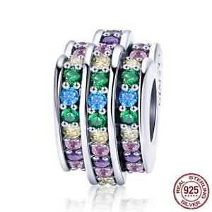 New-925-Sterling-Silver-Rhinestone-CZ-Love-Heart-Charm-Beads-fit-Women-Bracelets