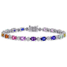 Amour Sterling Silver Multi-Color Created Sapphire and Diamond Tennis Bracelet
