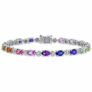 Amour-Sterling-Silver-Multi-Color-Created-Sapphire-and-Diamond-Tennis-Bracelet