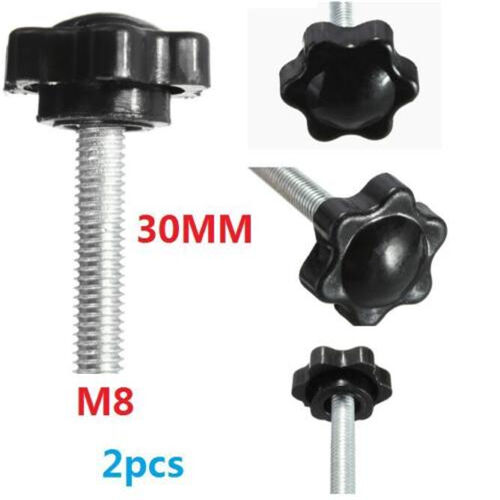 M8 M8x30mm Black Metal Star Shaped Male Thread Clamping Head Knob Screw X2 *