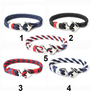 Mens-3mm-Double-Twist-Rope-Cord-Anchor-Clip-Bracelet-Choice-of-5-Colours