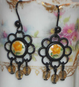 #858B Vintage Earrings Limoges Rose Filigree Lace Victorian Chandelier Black