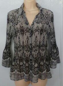 Women's Fashion Bug Black White Floral Blouse Bell Sleeve V Neck Semi Sheer Sz M