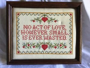 NO-ACT-OF-LOVE-HOWEVER-SMALL-IS-EVER-WASTED-Framed-Picture-11-034-X-9-034-Vintage