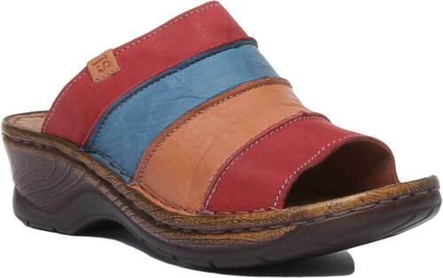 Josef Seibel Catalonia 64 Women Leather Matt Open Toe Sandal Red Size UK 3-8