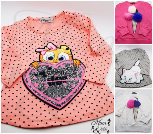 NEW Cute Baby Kids Girls Top Cotton Long Sleeved Glittery Party Casual Tops