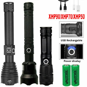 500000 LM Flashlight Powerful LED XHP50 Torch USB Rechargeable Lamp Ultra Bright