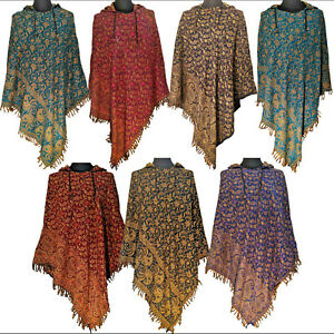 Paisley Poncho Button Up Hooded Jacket Floral Womens Coat Cape Ponchos Festival